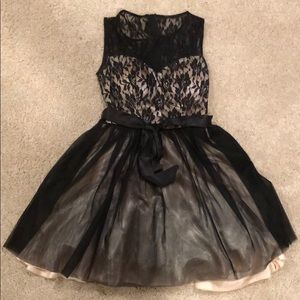 Dresses & Skirts - Formal dress, black lace and tan on the inside